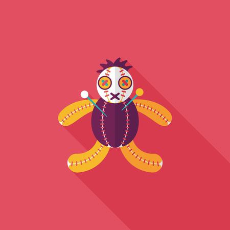 voodoo doll: Halloween voodoo doll flat icon with long shadow