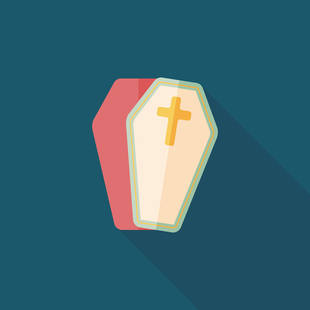 decomposition: coffin flat icon with long shadow