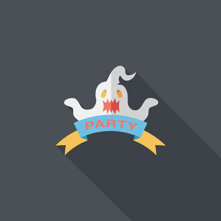 dashes: Halloween party flag flat icon with long shadow Illustration