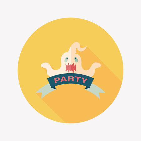 Halloween party flag flat icon with long shadow Vector