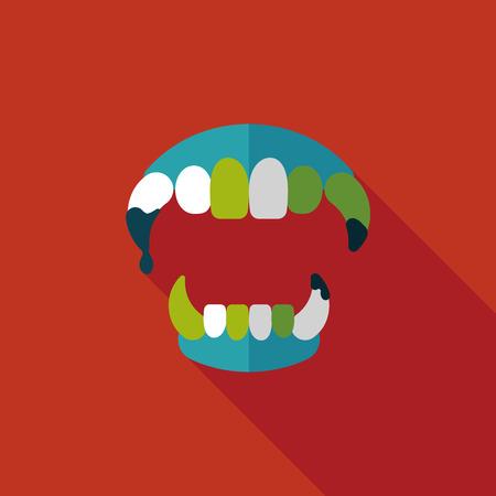 fangs: Halloween fangs flat icon with long shadow