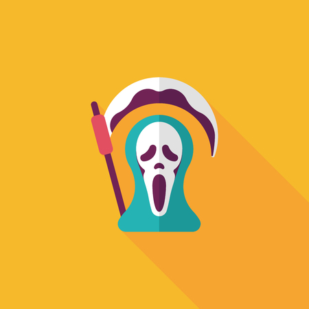 harbinger: Grim Reaper flat icon with long shadow
