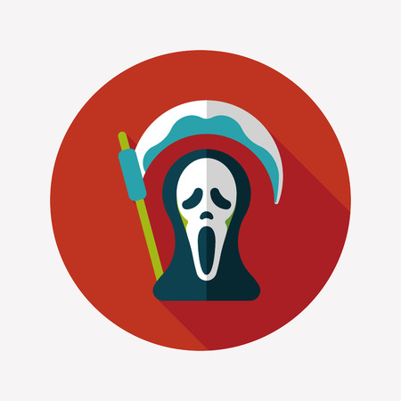omen: Grim Reaper flat icon with long shadow