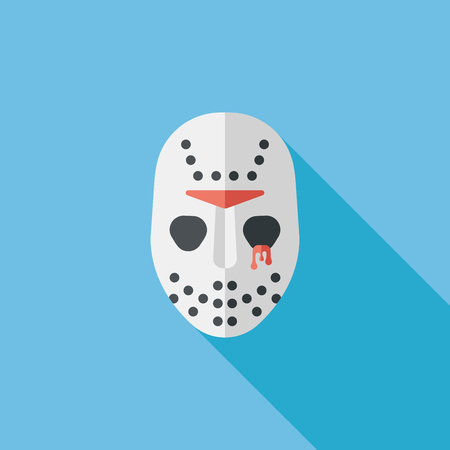 mask protection: Halloween mask flat icon with long shadow Illustration