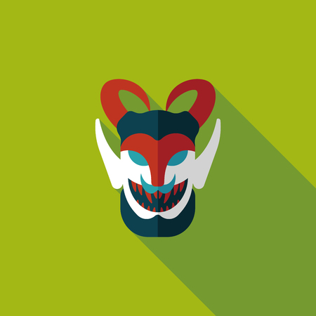Halloween devil flat icon with long shadow Vector