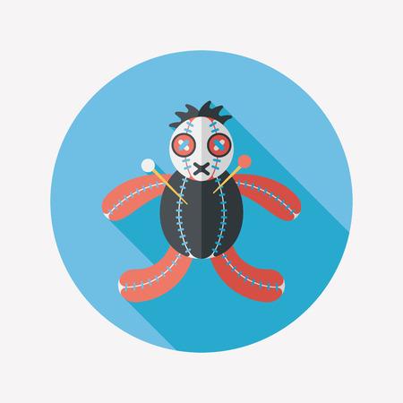 voodoo doll: Halloween voodoo doll flat icon with long shadow, Illustration