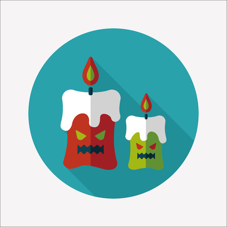 Halloween candle flat icon with long shadow Vector