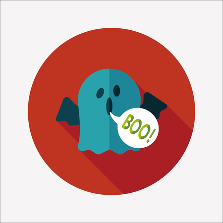 ghost flat icon with long shadow Vector