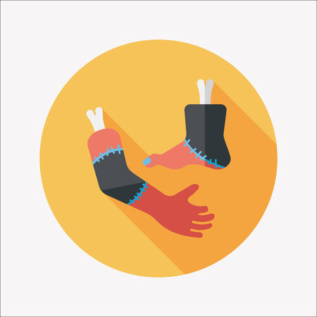 severed: Halloween hand and leg flat icon with long shadow Illustration