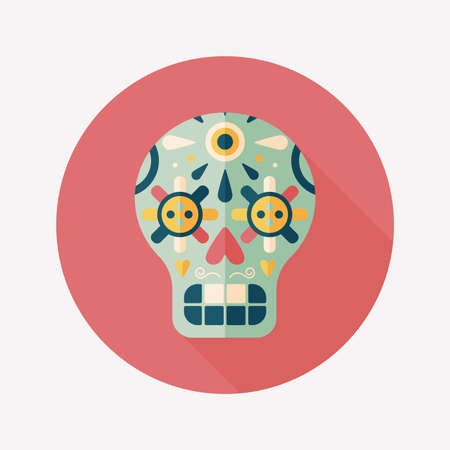 decoration skull flat icon with long shadow