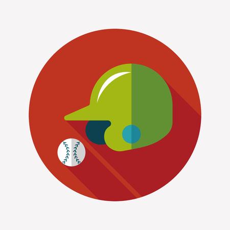 baseball helmet flat icon with long shadow Vector