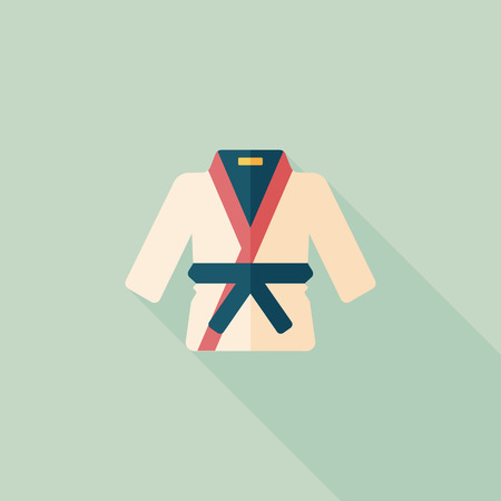 karate practice: Karate suit flat icon with long shadow