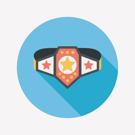 Championship belt flat icon with long shadow Vector