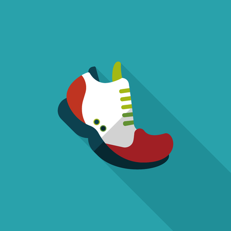 sneaker flat icon with long shadow Vector