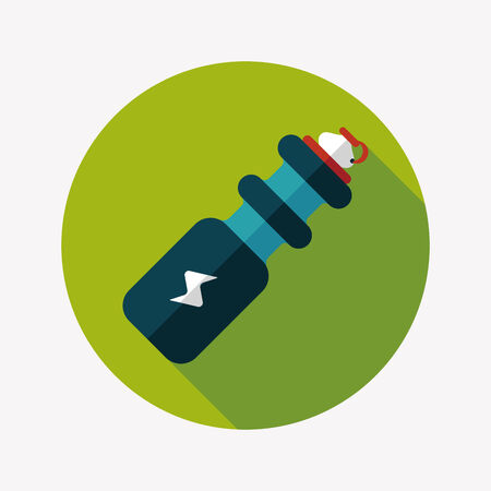 portability: sports water bottle flat icon with long shadow Illustration