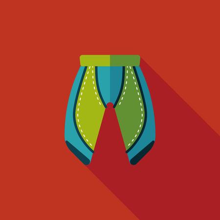 cycling shorts: cycling shorts flat icon with long shadow