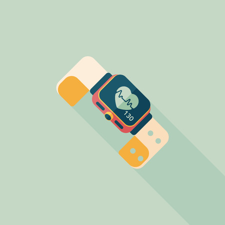 heart rate: heart rate sport-watch flat icon with long shadow