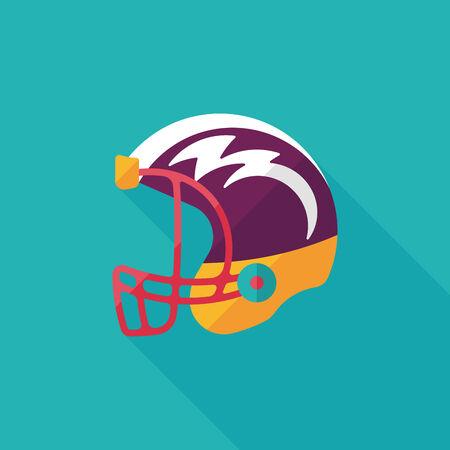 american football helmet flat icon with long shadow Vector