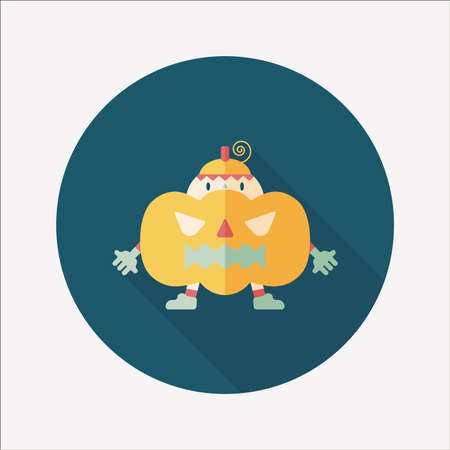 Pumpkin costume flat icon with long shadow