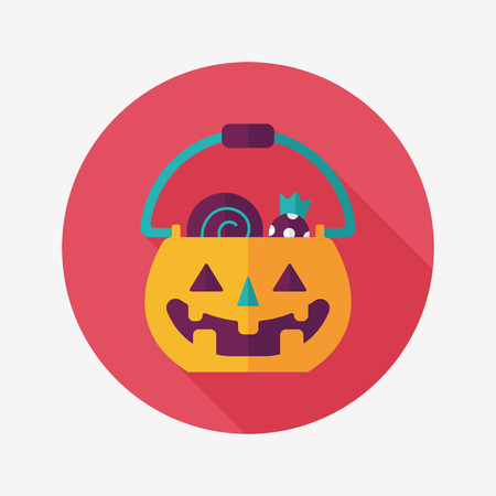 jack in the box: Halloween pumpkin shaped box flat icon with long shadow