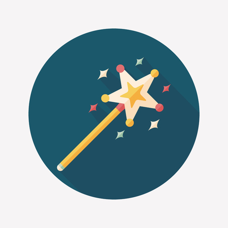 magic wand flat icon with long shadow