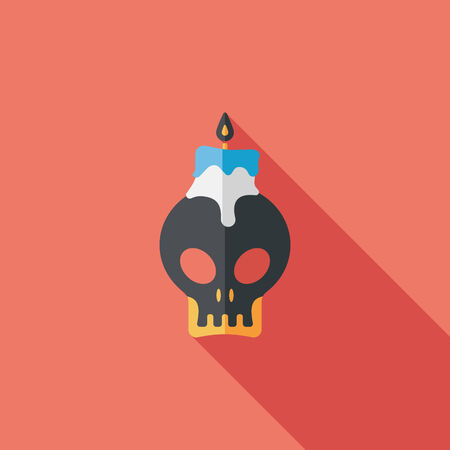 skull candle flat icon with long shadow Vector