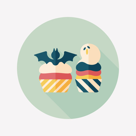 viewpoint: Halloween cupcakes with bat flat icon with long shadow