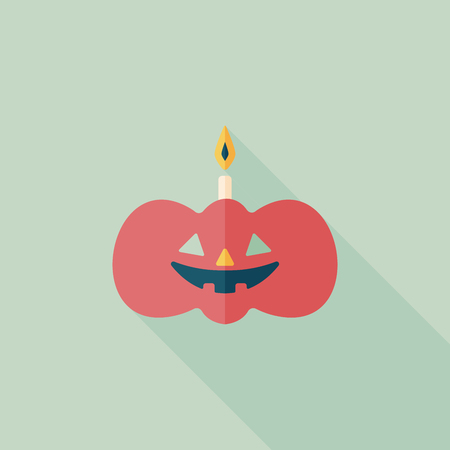 pumpkin candle flat icon with long shadow Vector