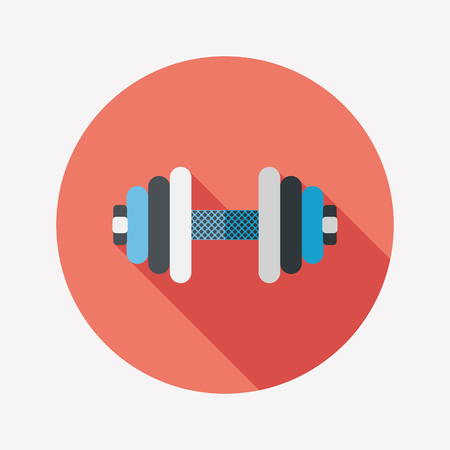 dumbbell flat icon with long shadow Illustration