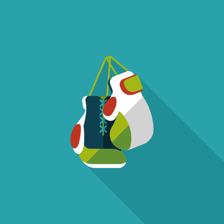 boxing gloves flat icon with long shadow Illustration
