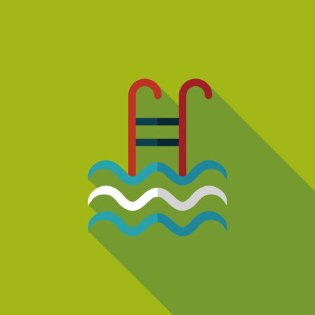 stepladder: swimming pool flat icon with long shadow Illustration