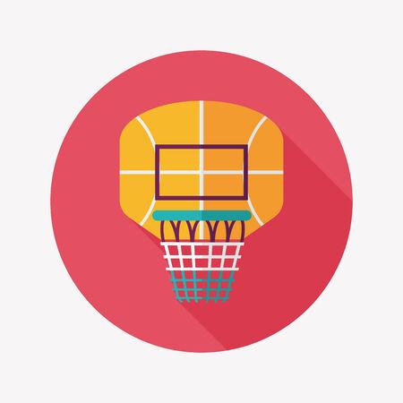 backboard: basketball backboard flat icon with long shadow