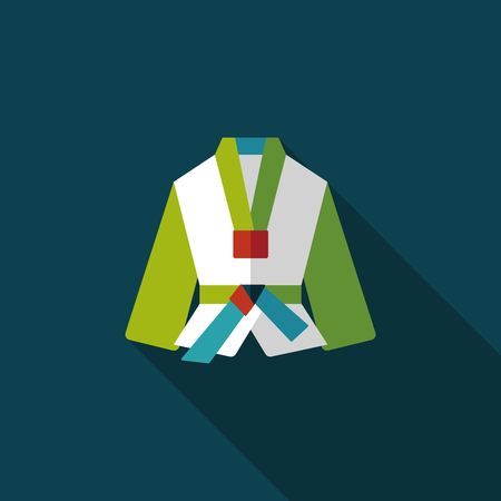 kata: Karate suit flat icon with long shadow