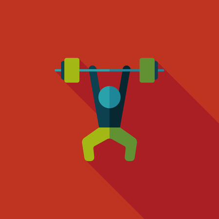 weightlifting flat icon with long shadow Vector