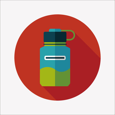 sports water bottle flat icon with long shadow,eps10 Vector