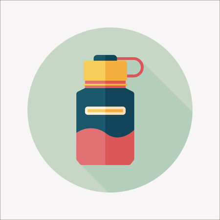 sports water bottle flat icon with long shadow Vector