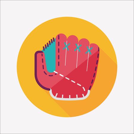 baseball glove flat icon with long shadow Vector