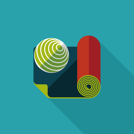 yoga mat: yoga mat and ball flat icon with long shadow