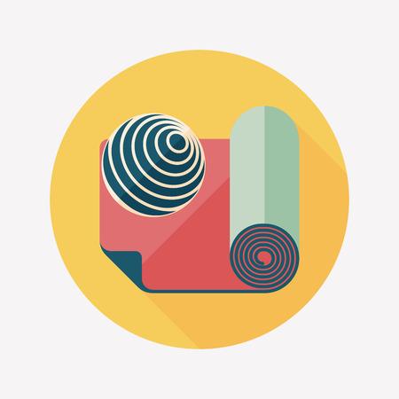 pilates ball: yoga mat and ball flat icon with long shadow