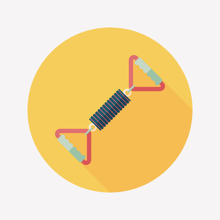 tension: spring tension fitness equipment flat icon with long shadow