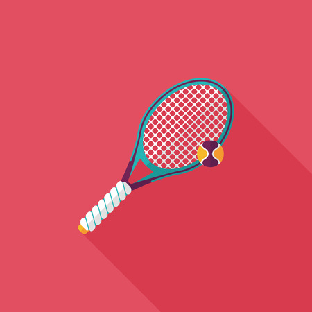bounces: tennis flat icon with long shadow Illustration
