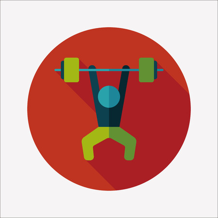 weightlifting flat icon with long shadow,eps10 Vector