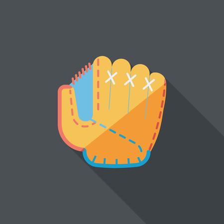 guante de beisbol: icono plana guante de béisbol con larga sombra Vectores