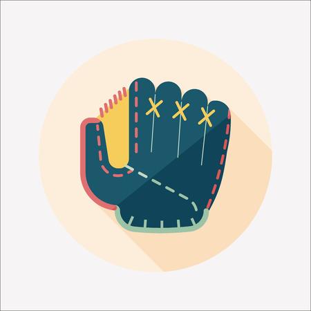 pincher: baseball glove flat icon with long shadow