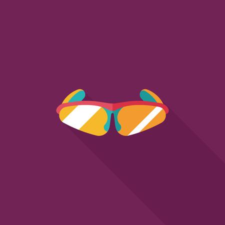 travel: bike sunglasses flat icon with long shadow