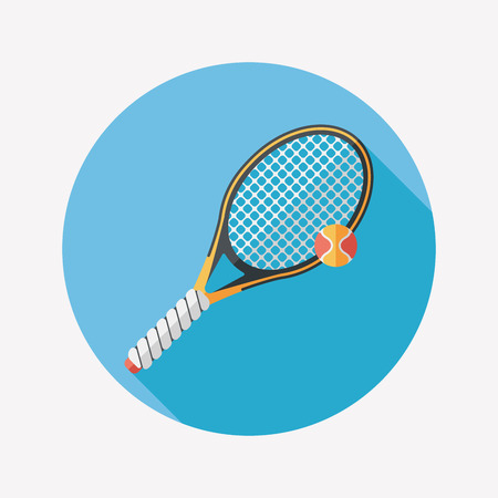tennisball: tennis flat icon with long shadow Illustration