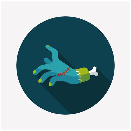 creepy hand: Halloween zombie hand flat icon with long shadow Illustration