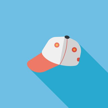 baseball cap: baseball cap flat icon with long shadow