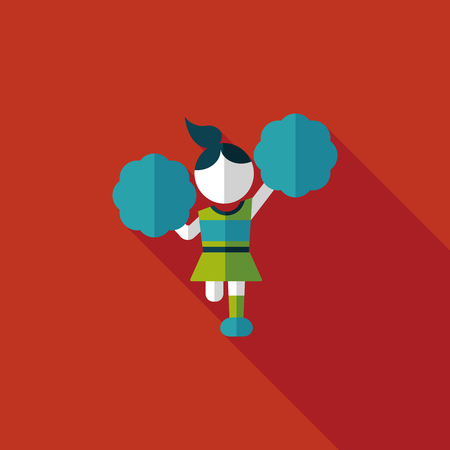 porrista: animadora icono plana con larga sombra