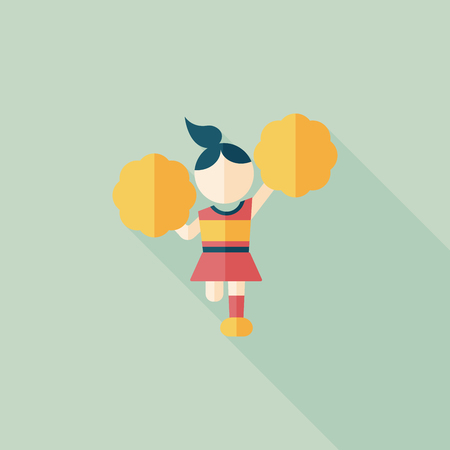 cheerleader flat icon with long shadow